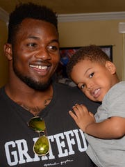 Dante Fowler Jr. spends some time with his son, Dante