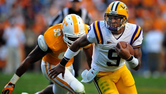 LSU quarterback Jordan Jefferson (9) finds some running room against Tennessee on Oct. 15, 2011.