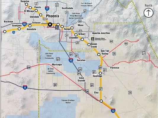 Proposed Phoenix-Tucson rail map