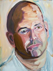 """Oil on canvas painting of Sgt. Michael Joseph Leonard Politowicz from President George W. Bush's """"Portraits of Courage"""" exhibit."""