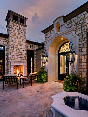 "A ""scotch and cigar"" patio, as the homeowners call it."