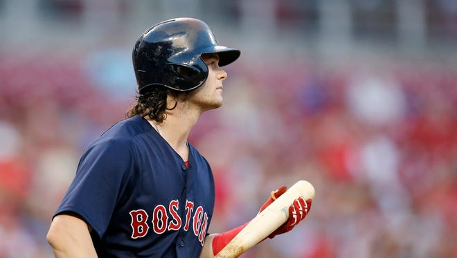 Cincinnati native, Boston Red Sox left fielder Andrew Benintendi (16), takes the plate in the first inning of the game between the Cincinnati Reds and the Boston Red Sox at Great American Ball Park on Sept. 22, 2017.