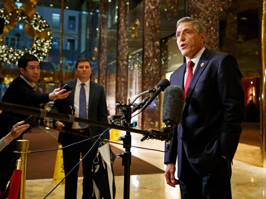 FILE – In this Nov. 29, 2016, file photo, U.S. Rep. Lou Barletta, R-Pa., talks with reporters after meeting with President-elect Donald Trump at Trump Tower in New York. Barletta, planning to challenge Democratic U.S. Sen. Bob Casey's bid for re-election in 2018, and Pa. state Sen. Scott Wagner, a Republican planning to challenge Democratic Gov. Tom Wolf's attempt to win a second term in 2018, were both early supporters of Trump, and remain unabashed supporters of the president.
