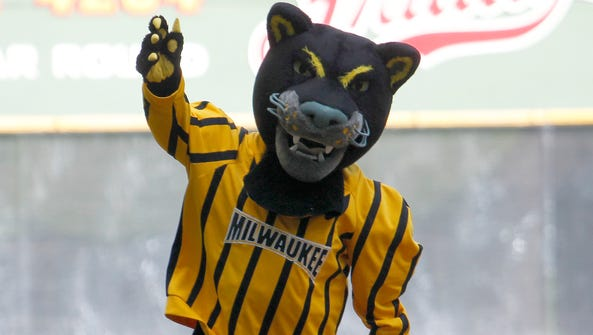 The UWM Panthers mascot rounds the bases at Miller