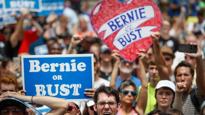 Supporters of Sen. Bernie Sanders of Vermont rally near City Hall in Philadelphia on Tuesday, July 26, 2016, during the second day of the Democratic National Convention.