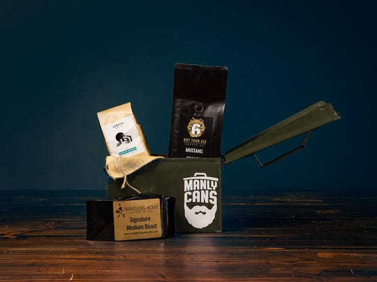 The Coffee Can by Manly Cans features coffee from three local roasters —  Travelers House, Eurasia and Got Your Six — stuffed inside a military surplus ammo box.
