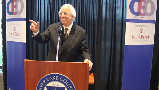 Frank Abagnale, cybersecurity and fraud-prevention expert, takes questions about his life as a con man turned FBI consultant at Wednesday's Silver Lake College President's CEO Breakfast.