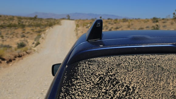 Dirt covers the back of reporter Brian Passey's car while driving along the Mojave Desert Joshua Tree Road Scenic Backway in Beaver Dam Wash National Conservation Area.