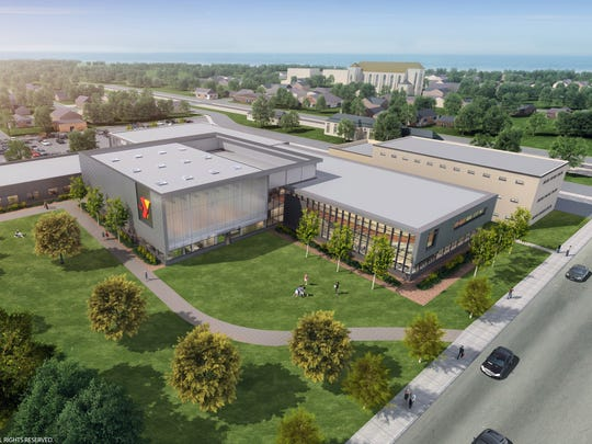 A rendering of the Oshkosh Community YMCA's downtown location. Construction on the 77,500-square foot facility is expected to be completed fall of 2017.