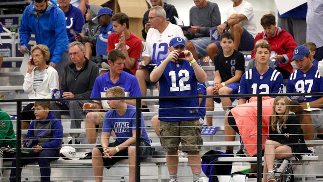 Indianapolis Colts fans get a close look at the players during their fifth day of training camp at Grand Park in Westfield on Tuesday, July 31, 2018.