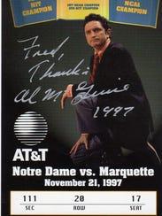 This Nov. 21, 1997, ticket to a Marquette versus Notre