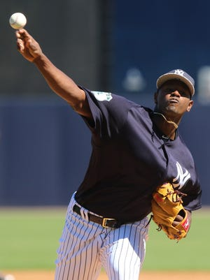 Here is the starting pitcher for the Yankees, Luis Severino.