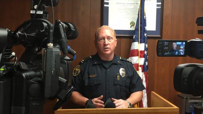 Hattiesburg police spokesman Lt. Jon Traxler talks during a press conference Tuesday at HPD headquarters.
