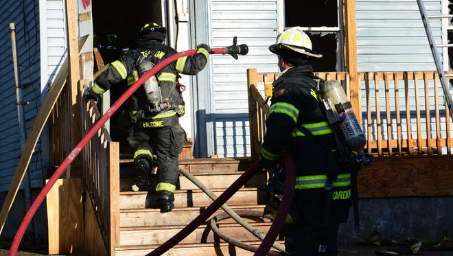 Paterson Firefighters battled a single alarm fire at a vacant house on Paterson St in Paterson Friday morning May 11, 2017.