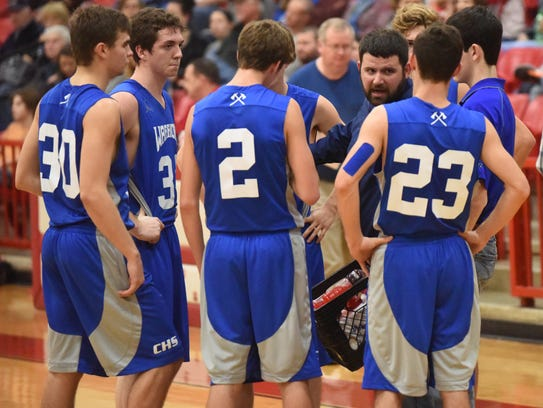 Cotter coach Chad Wheeler gives instructions during