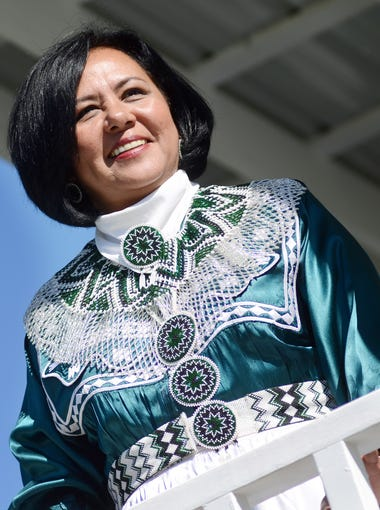 In this 2011 file photo, Chief Phyliss J. Anderson, of the Mississippi Band of Choctaw Indians, watches her inaugural parade pass on Mississippi 16 from a viewing platform outside the Golden Moon Casino.