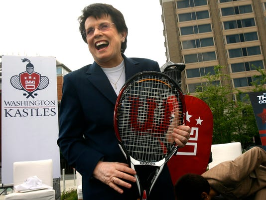 FILE - In this April 30, 2008, file photo, tennis star Billie Jean King laughs after helping to announce the site of a new stadium to host the Washington Kastles, the newest franchise of the World Team Tennis Pro League, in Washington. Billie Jean King and World Team Tennis are serving up their 40th season, a feat accomplished only by the big four leagues in the United States. (AP Photo/Jacquelyn Martin, File)