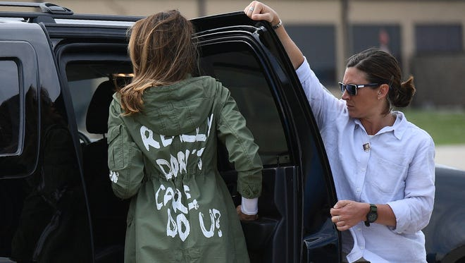 """First lady Melania Trump departs Andrews Air Rorce Base in Maryland Thursday wearing a jacket emblazoned with the words """"I really don't care, do you?"""""""