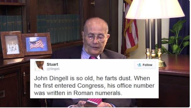 Former U.S. Rep. John Dingell reads mean tweets about himself.
