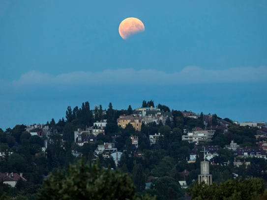 A partial lunar eclipse above the 2nd district of Budapest,