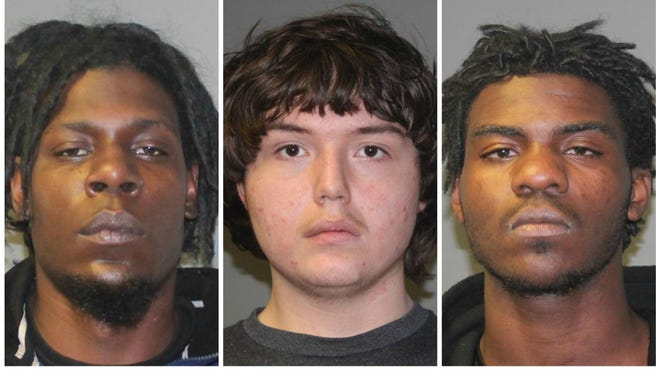 Three suspects in a Lansing break-in, from left: Eric Durvon Chappell, Joshua Thomas Green, and  Jaqwell Jumar Gibbs.
