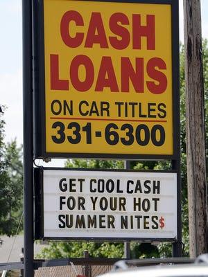 Car title loan advertisement.