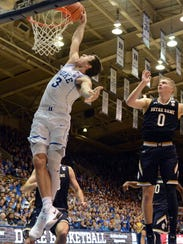 Duke's Grayson Allen throws down a dunk against Notre