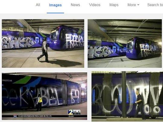 Graffiti taggers covered three Atlanta streetcars last