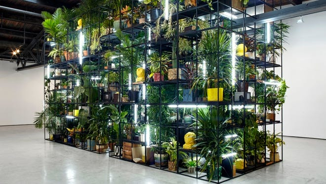 """Rashid Johnson's """"Antoine's Organ,"""" on display at the Milwaukee Art Museum, includes plants, ceramics, books that matter to the artist and blocks of shea butter."""