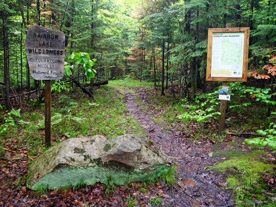 The North Country Trail enters the Rainbow Lake Wilderness