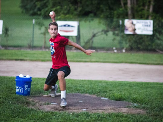 Blake Voris delivers a pitch during the ISWB all-star game on Saturday.