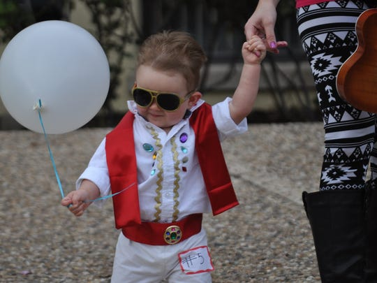 Connor Apell, 1, took second prize for his impersonation of Elvis Presley in the 2015 Fall Festival Costume Conest.