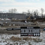 Construction crews work on the future site of the Brewdog brewery and North American headquarters Monday in Canal Winchester.