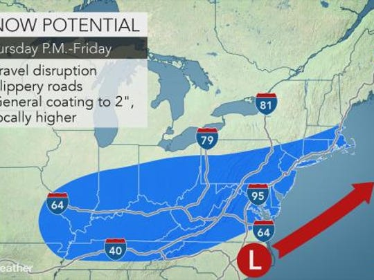A coating to an inch of snow is predicted for York County.
