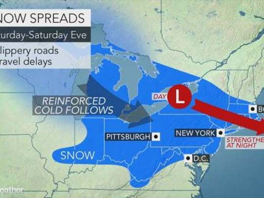 Cold air and snow hit Central Pa. on Saturday, Dec.