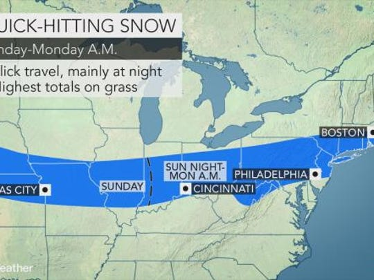 Forecasters are calling for another episode of regional snowfall between Sunday night and Monday morning.