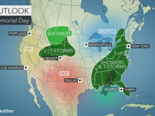 The chance for showers and thunderstorms increases as Memorial Day weekend progresses, according to forecasters.