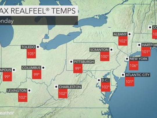 This AccuWeather map shows some RealFeel temperatures