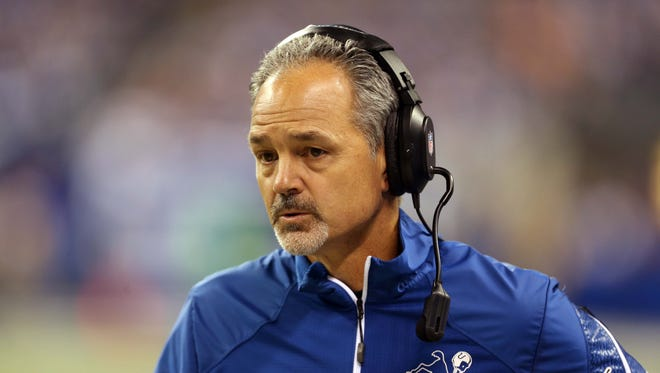 Indianapolis Colts head coach Chuck Pagano during the first half against the Denver Broncos at Lucas Oil Stadium Oct. 20, 2013. Colts beat the Broncos 39-33.