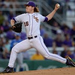 LSU starting pitcher Jared Poche' (16) throws against Kentucky in an NCAA baseball game Friday in Baton Rouge.