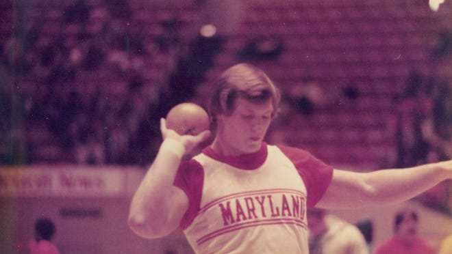 Ian Pyka competing for the University of Maryland during the time he was training for the US Olympic Trials.