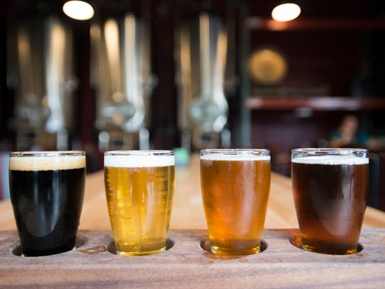 A flight of beer is served at Maxline Brewing in Fort