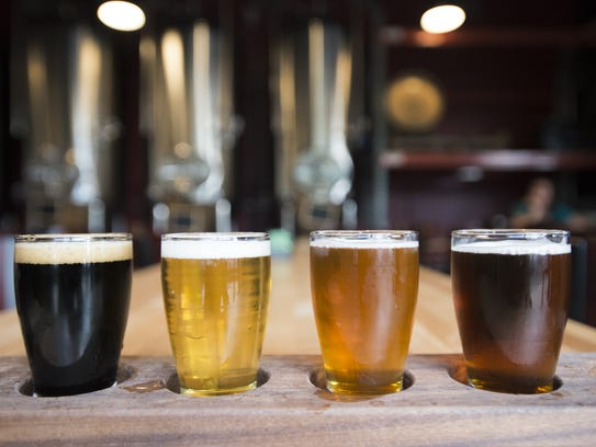 A flight of beer is served at Maxline Brewing.