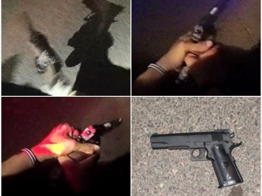 The Las Cruces Police Department released this collage of images, which they say are from a lapel camera involving an officer-involved shooting Friday, April 27, 2018, in Las Cruces. The bottom right photo is of the BB gun police say a bicyclist was holding when he was shot.