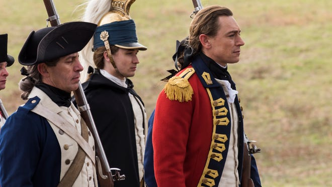 Major John André (JJ Feild, right) prepares to meet his end in the Season 3 finale of AMC's 'Turn: Washington's Spies.'