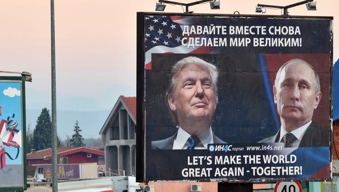 A billboard in Danilovgrad, Montenegro, on Nov. 16, 2016.