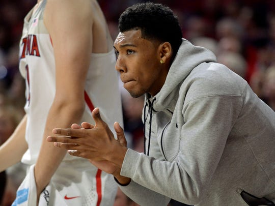Nov 30, 2016: Arizona Wildcats guard Allonzo Trier (35) watches from the bench during the second half against the Texas Southern Tigers at McKale Center. Arizona won 85-63.