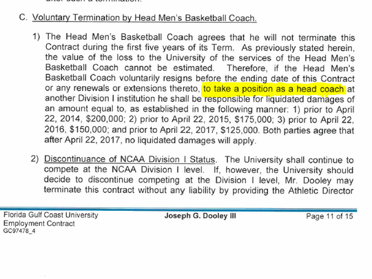 "A clause in FGCU men's basketball coach Joe Dooley's contract stipulates buyout amounts only for him to become a ""head coach"" at another Division-I school. No provision exists for him to become an assistant coach. Dooley was widely reported to be considering an assistant coaching position at N.C. State."