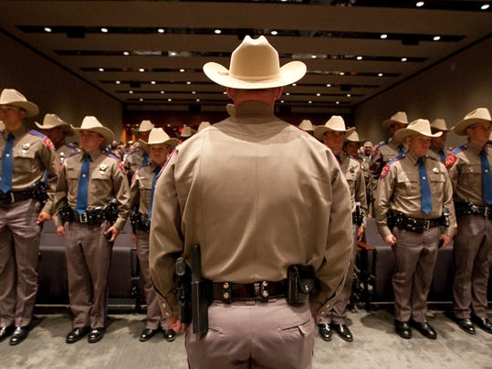 Texas Department of Public Safety recruit graduation class on April 7th, 2011 in Austin, Texas .