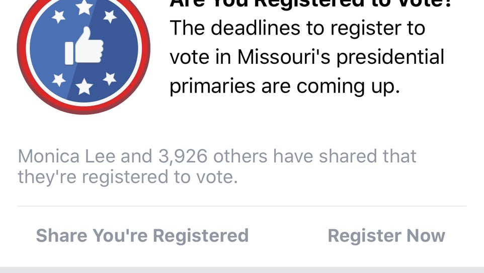 An example of how Facebook's voter registration reminder